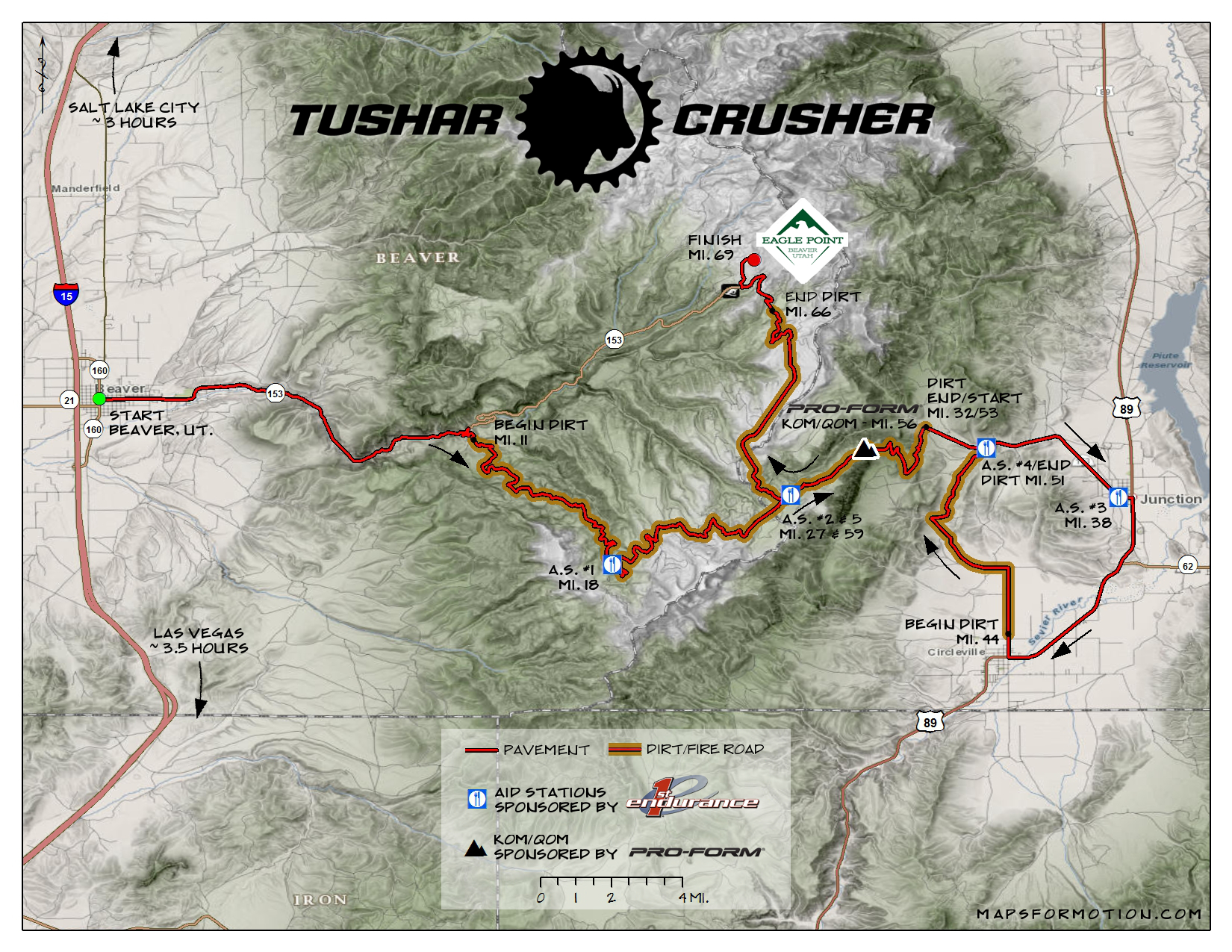 Course Map and Description | Crusher in the Tushar | road + dirt